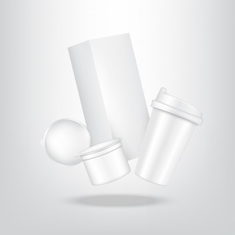 Realistic coffee capsule, carton pack box and cup for food and drink product packaging