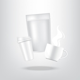 Realistic coffee, carton pack bag and cup for food and drink product packaging background