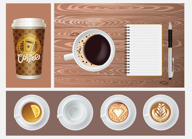 Realistic coffee concept with paper container empty mug cups of tea and coffee notepad pen on wooden background