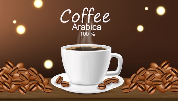 Realistic coffee cup arabica, coffee banner, beans and hot drink, good morning,
