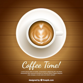 Realistic coffee cup background with top view