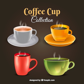 Реалистичная коллекция кофейных чашек