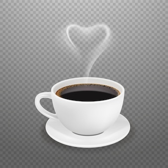 Realistic coffee cup. hot heart steam, white espresso americano mug. morning drink for energy vector illustration. cup coffee drink, black aroma beverage