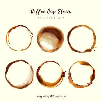 Raccolta di macchie di caffè realistico
