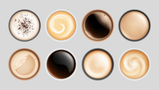 Realistic coffee cup. top view hot latte cappuccino espresso, isolated breakfast beverages. milk froth drinks in mugs vector illustration. cappuccino and latte, beverage espresso, breakfast drink