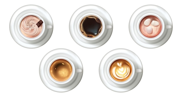 Realistic coffee cups set. collection of realism style drawn sorts of drinks hot beverages latte cappuccino espresso americano
