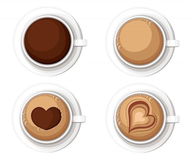 Реалистичные кофейные чашки с американо латте, эспрессо, маккиатто, мокко и капучино. иллюстрация страница веб-сайта и элемент мобильного приложения