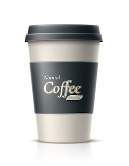 Realistic coffee in disposable paper cup with lid