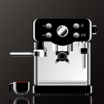 Realistic coffee machine with cup