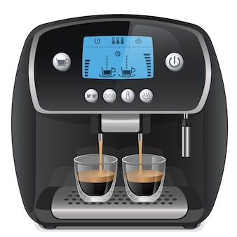 Реалистичная кофемашина с чашками на белом фоне векторные иллюстрации