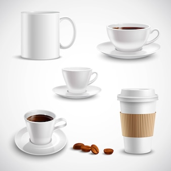 Realistic coffee set