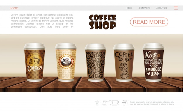 Realistic coffee shop web page template with paper and plastic cups of hot drink on wooden counter