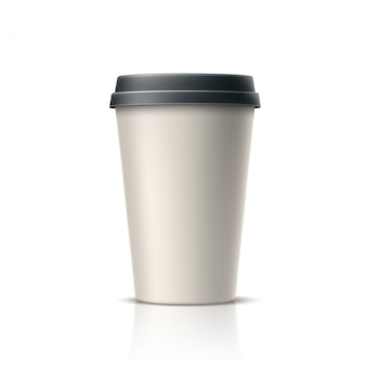 Realistic coffee, tea in disposable paper cup
