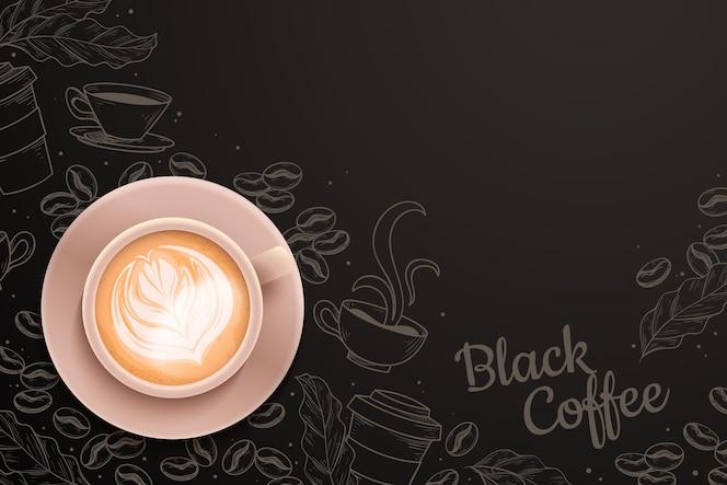 커피 컵과 현실적인 커피 시간 배경