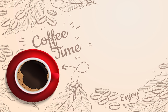 Realistic coffee time background with coffee cup