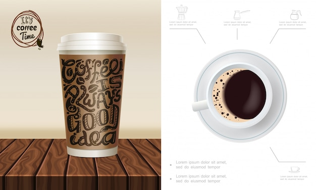 Реалистичная композиция времени кофе с бумажным стаканчиком на деревянной прилавке кружка кофе мясорубки турка иконок