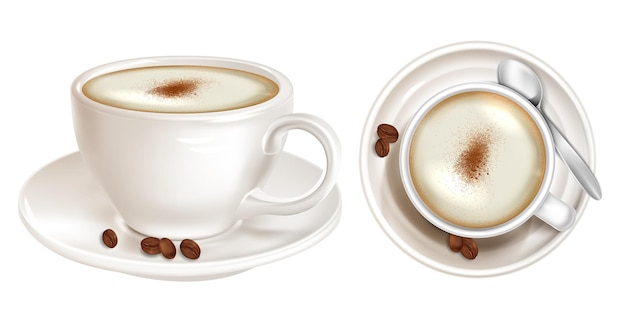 공기 거품 상단 및 측면보기와 함께 현실적인 커피