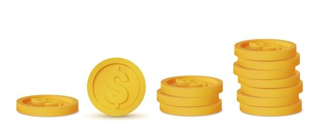 白いコインアイコンに分離されたリアルなコイン