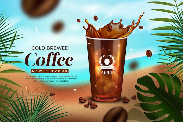 Realistic cold brew coffee ad