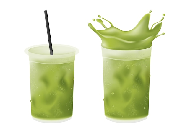 Realistic cold iced green tea matcha latte in plastic cup