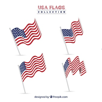Raccolta realistica di bandiere americane