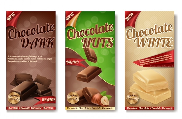Realistic collection of chocolate packaging. labels of tasty product with nuts