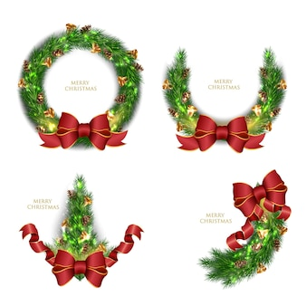 Realistic collection of christmas wreaths illustration