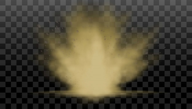Realistic collection of dust and smog or fog explosion on transparent background, smelly fog, pollution of the air, environment.