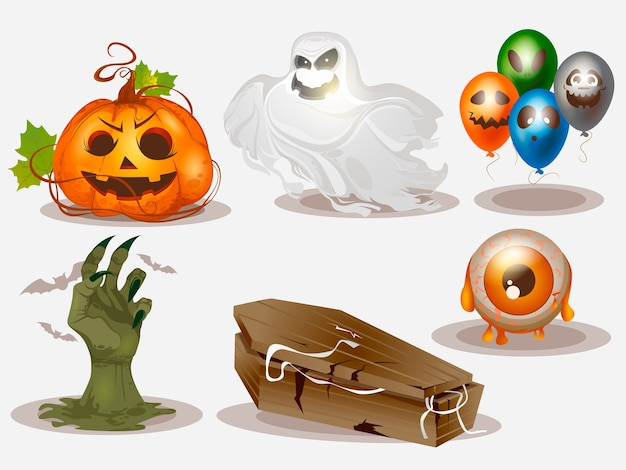 Realistic collection of halloween elements