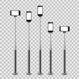 Realistic collection of monopods with phone on the transparent background.