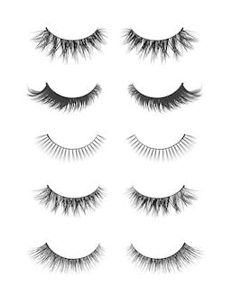 つけまつ毛のリアルなコレクション。マスカラパックや美容製品の流行のファッションイラスト。白い背景に設定されたフェミニンなまつげ