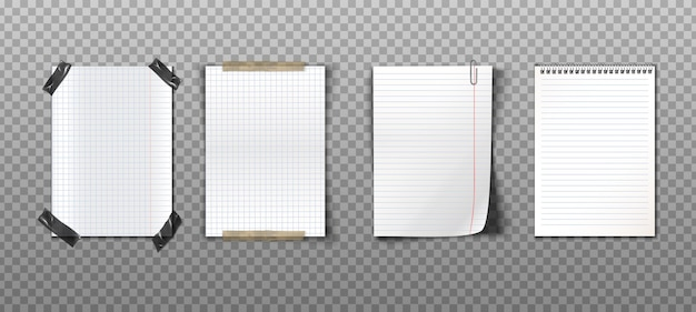 테이프, 클립 및 나선형 노트북으로 종이 노트의 현실적인 컬렉션