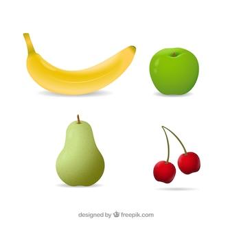 Реалистичный набор вкусных фруктов