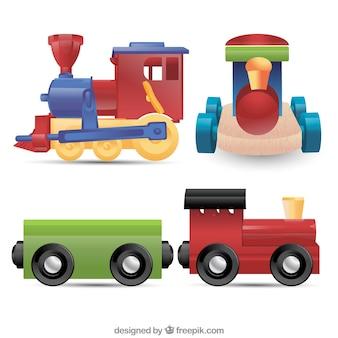 Реалистичная коллекция игрушечных поездов Бесплатные векторы
