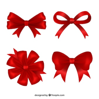 Realistic collection of red bows