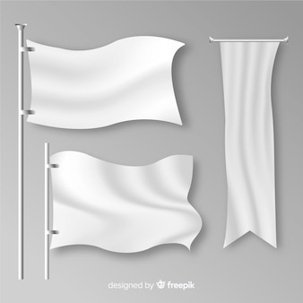 Realistic collection of textile flags