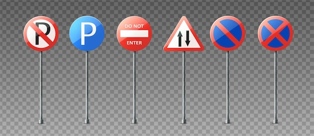 Realistic collection of warning and information road signs showing directions