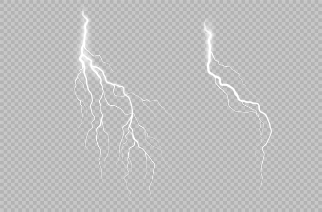 Realistic collection with lightning thunderstorm on transparent background.