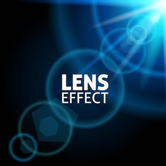 現実的なコリメート光ビーム。レンズフレアの効果。青い輝き、明るい照明。