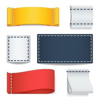 Realistic color blank fabric labels, badges with stitching set