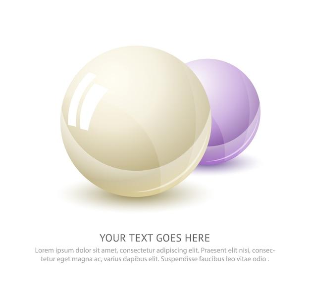 Реалистичный цвет фона жемчуга. драгоценный глянцевый жемчуг в форме шара.