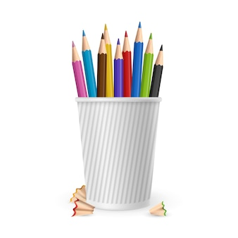 Realistic color pencils in glass isolated on white background