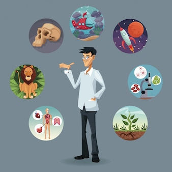 Realistic color poster icons world evolution around of scientist