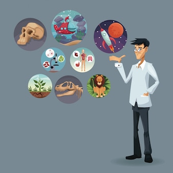 Realistic color poster scientist with icons world evolution