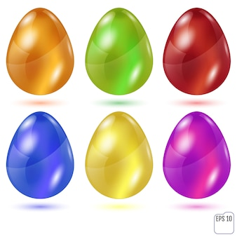 Realistic colored glasses easter eggs