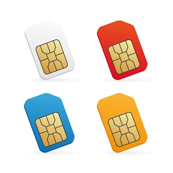 Realistic colored sim card illustration