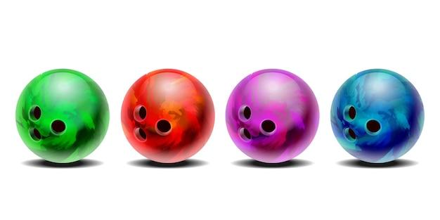 リアルなカラフルな3d紫、青、赤、緑のボウリングボールセット。白い背景で隔離。デザイン要素。