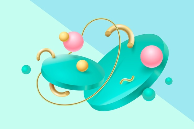 Realistic colorful 3d shapes floating background
