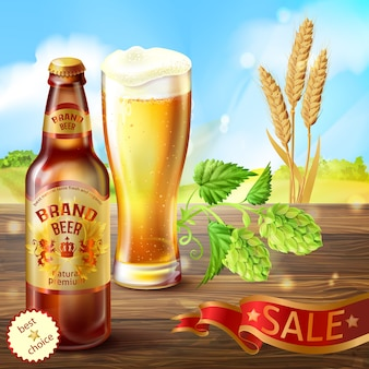 Realistic colorful background, promotion banner with brown bottle of craft beer