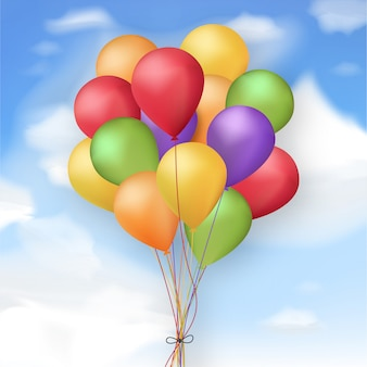 Realistic colorful balloons